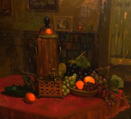 Florence Upson Young Still Life with Urn and Fruit 28x32 Oil on Canvas
