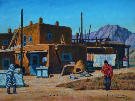 Frank Gavencky Santa Fe Adobe Indians 18x24 Oil on Board