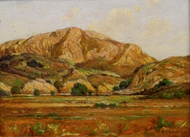 George F Kaumyer California Hills and Oaks 9x12 Oil on Board