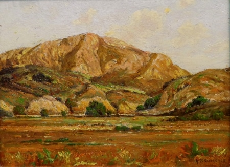 George F Kaumyer California Hills and Oaks 9x12 Oil on Board