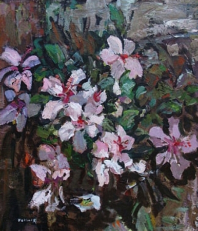 Grace Libbey Vollmer Pink Hibiscus 28x24 Oil Painting