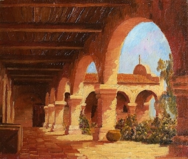 Unsigned San Juan Capistrano 10x12 Oil on Board