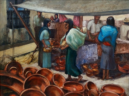 John L Ellingboe Mexican Marketplace 20x24 Oil on Canvas Board