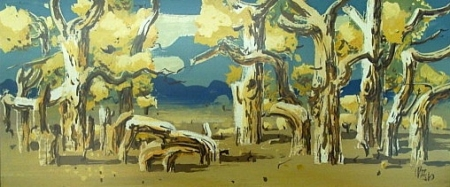Milford Zornes Cottonwoods at the Mojave River 16x40 Acrylic