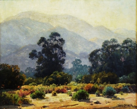 Paul Grimm Eucalyptus Near Tujunga 16x20 Oil on Board