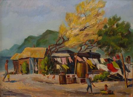 Roberta Asseln Hansen Seaside Cottage Laguna 18x24 Oil on Board