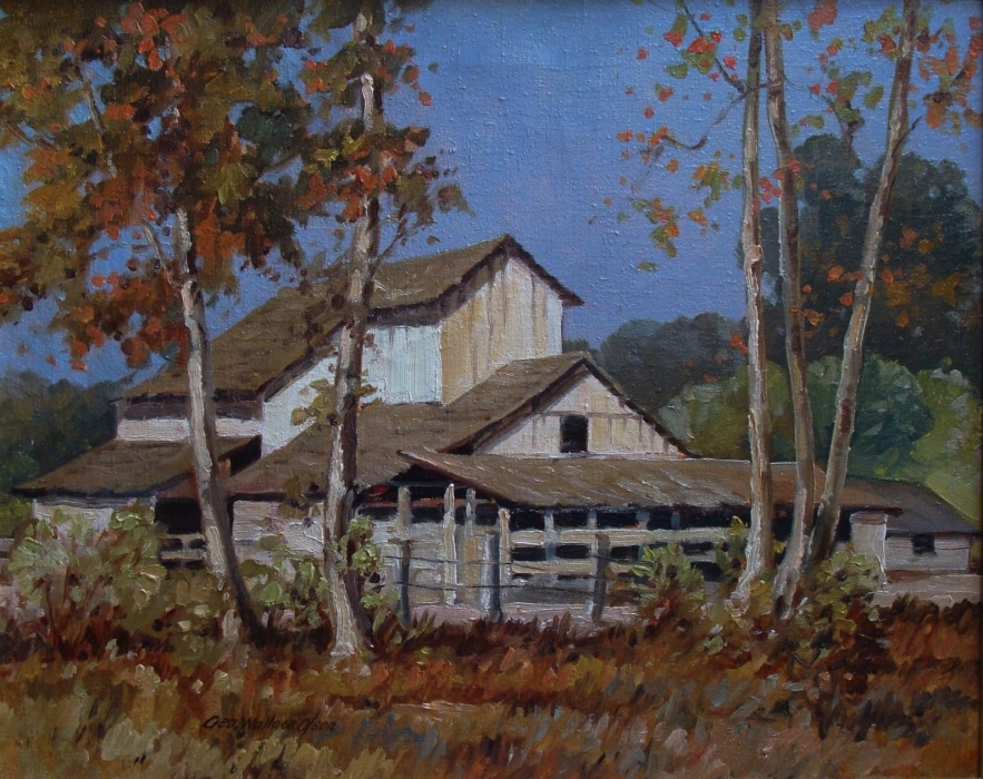George Wallace Olson Arroyo Barn 16x20 Oil on Canvas