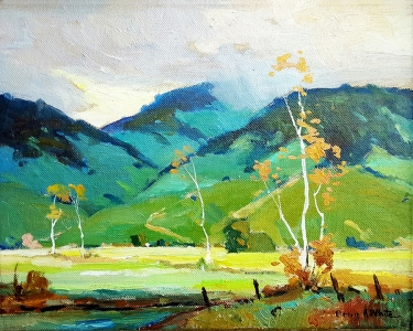 Orrin A. White Blue and Green Hills 8x10 oil on board