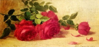 Sara Bender de Wolf Roses 6 1/2 × 13 oil on board