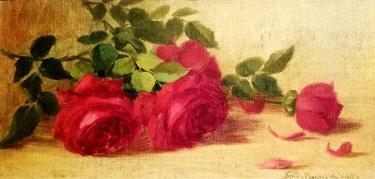 Sara Bender de Wolf Roses 6 1/2 × 13 oil on board