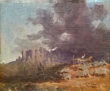 T Burrell Tenney Riding through the Sierra Foothills 5 1/2 x 6 1/2 oil on board.175